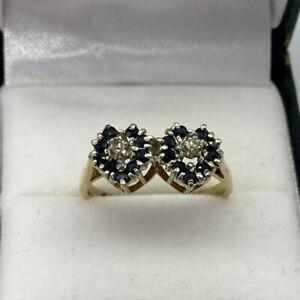 9ct Gold Hallmarked Sapphire & Diamond Heart Cluster Ring.  Goldmine Jewellers.
