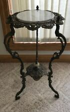 Superb Antique Victorian Steel Bronze Plant Fern Stand Pedestal Table Onyx Top