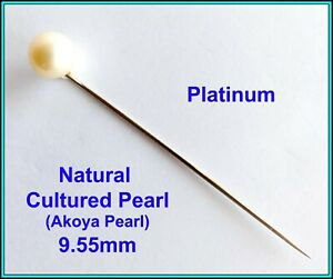 18k White GOLD & Cultured Akoya Pearl 9.50mm  Hat Stick, Pin, Tie Pin, Lapel Pin