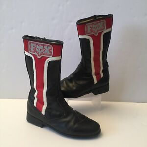 Vintage Fox Racing USA Leather Boots Red Black Made In Italy Size 41