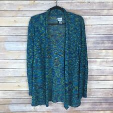 Chicos 0 Womens Sweater Open Knit Cardigan Open Front Textured Lightweight 4 S