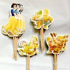 24pcs birthday Party Ornament Snow White and the seven dwarf Cakes inserted card