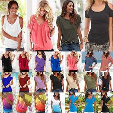Women Summer Off The Shoulder Tee Shirts Short Sleeves Casual T-shirt Top Blouse