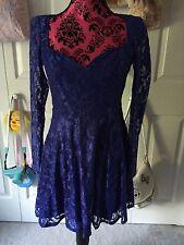 Asos Royal Navy Blue Lace Sweetheart Long Sleeve Skater Dress 80s Holiday 2017
