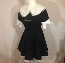 Swankiss Lolita Black Victorian Vintage Larme Mini Dress Japan Kawaii Dress