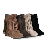 Womens Suede Tassel Fringe Moccasin Boots Flat Layer Mid Calf, Colors, Size 4-9