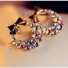HOT Women NEW Bow Gold Crystal Rhinestone Ear Stud Earrings Fashion