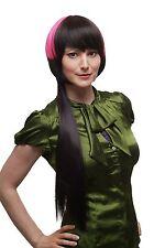 Extravagant Punk Perruque carré arrière long lisse Brun Foncé Rose SA039 cosplay