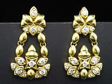 18K Yellow Gold 1.15ctw Diamond Girandole Chandelier Dangle Designer Earrings