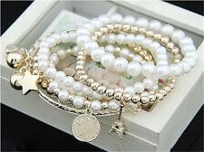 Multilayer Pendant Pearl Beaded Metal Charm Bangle Chain Jewelry Bracelet AU