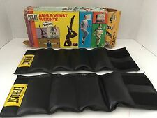 Vtg80s Everlast black leather Ankle Wrist Weights 2.5 LBS EA velcro with box