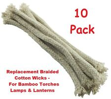 Replacement Cotton Wicks  For Bamboo Torches, Lamps, Lanterns Pack of 10 Braided