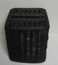 Vtg wicker rattan kleenexTissue Box Cover Holder black