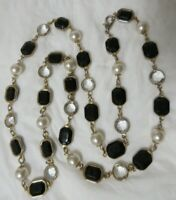 Vintage Gold Tone Faux Faceted Black Stone, Faux Pearl & Clear Crystal Necklace