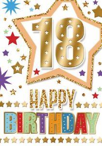 Happy 18th Birthday. Fun Star Design Card For Age 18 Male