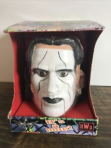 WCW Wrestling Sting Head Mug Coffee Cup Plastic NWO Head Slammers 1999 10oz