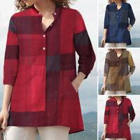 ZANZEA Women Vintage Retro Plaid Check Tops Tee V Neck Slim Shirt Blouse T-Shirt