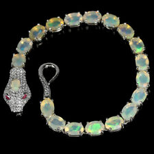 NATURAL AAA RAINBOW OPAL & CZ STERLING 925 SILVER SNAKE BRACELET SIZE 7