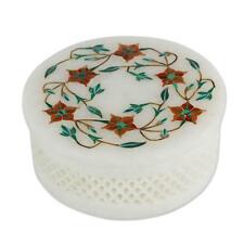 Marble Jewelry Box Handmade Semi Precious Stones Floral Inlay Art Home Decor