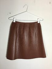 =EDGY CHIC= MSGM Brown Pleated Contrast Lining Faux Leather Short Mini Skirt US6