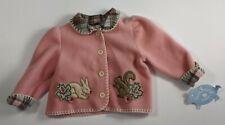Hartstrings Baby 18M Pink Fleece Jacket Applique USA Rabbit Squirrel Flannel