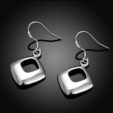 Pretty New 925 Sterling Silver Plated Diamond Square Shaped Dangle Drop Earrings