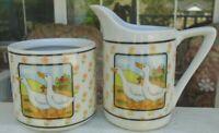 Empress by Haruta Japan Ceramic Ducks Flowers Creamer & Sugar Bowl Set No Lid