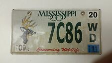 2011 MISSISSIPPI Conserving Wildlife (Buck) License Plate 7C86 WD