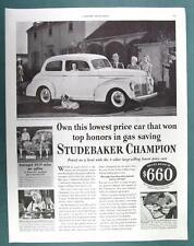 Original 1940 Studebaker Champion Ad  WON TOP HONORS IN GAS SAVINGS