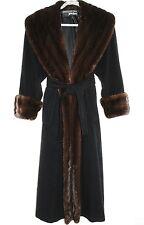 SORBARA For Neiman Marcus Coat Cashmere Genuine Mink Fur Black Size L-XL
