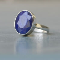 Natural Faceted Blue Sapphire Gemstone 925 Sterling Silver Handmade Ring Size 6