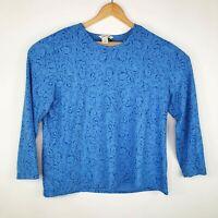 Orvis Passport Womens Size XL Blue Patterned Long Sleeve Top Shirt
