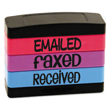 Stack Stamp EMAILED FAXED RECEIVED 1 13/16 x 5/8 Assorted Fluorescent Ink 8800
