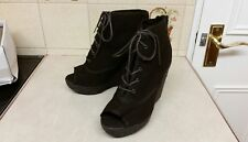 NEW LOOK CANVAS LACE UP ROPE WEDGE HEEL PEEP TOE SHOE BOOTS SIZE 6