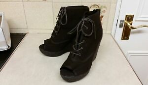 NEW LOOK CANVAS LACE UP ROPE WEDGE HEEL PEEP TOE ANKLE BOOTS SIZE 6