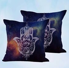 Us Seller-set of 2 Hamsa Hand Of Fatima cushion cover cheap decorative pillows