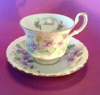 Royal Albert Teacup And Saucer - Flower Of Month 1987 - March Violet - England