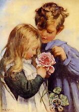 Old Vintage MILLICENT GRAY Art Print Children CATCHING FAIRIES in Rose Garden