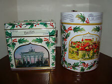 Lambertz Christmas Tins - Two - Empty - Musical - Rectangle - Round