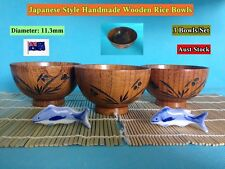 NEW Japanese Style Handmade Wooden Rice Bowls Dinner Set - 3 pcs/set (B167)