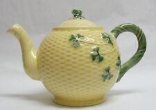 Bordello Pineiro Pottery Shamrock Basketweave Pattern Teapot