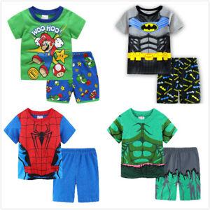 Kids Boys Mario Pyjama Set T Shirt Short Set Nightwear
