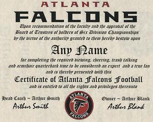 ATLANTA FALCONS  NFL FAN   CERTIFICATE   ~MAN CAVE ~ FREE SHIPPING