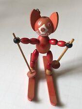 Rare Felix the Cat Skiing Wood Figure Toy Made in Austria 1920s Schowanek VTG