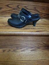 Frye Clogs slides  Leather studded kitten heel size 8.5 black