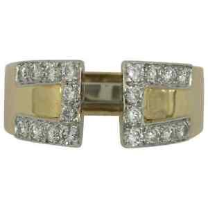 David Webb Diamond Gold Platinum Key Design Split Front Ring