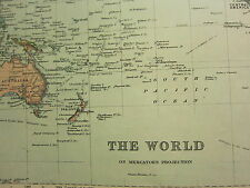 1894 ANTIQUE MAP ~ THE WORLD ON MERCATOR PROJECTION ASIA EUROPE AMERICAS STEAMER