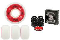 Bones Wheels 100's White 52mm Conical V5 + FREE Spitfire Skateboard Bearings