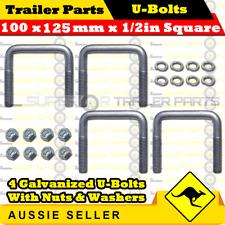 4 x U-Bolts 100mm x 125mm Square with Nuts Galvanized Trailer Box Boat Caravan