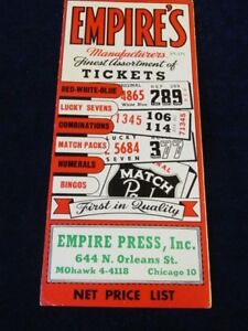 Vintage Empire Company Ticket Game Catalog/Brochure w/Prices Gambling Q512